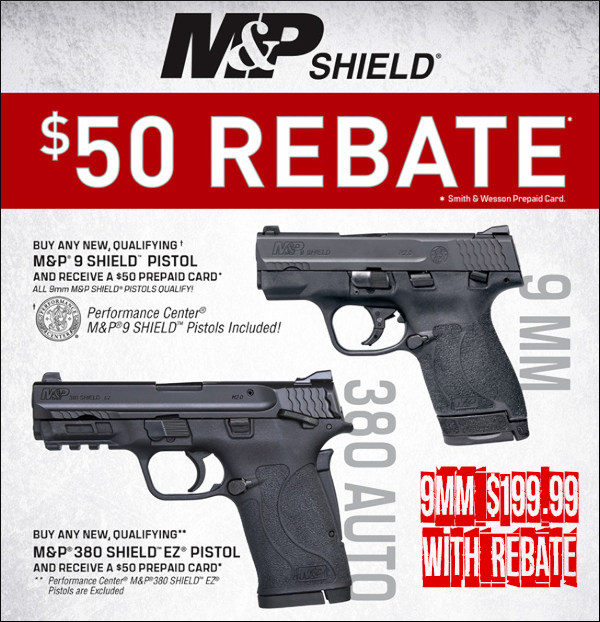 Smith Wesson M&P 9mm pistol handguns rebate cash-back Palmetto state armory