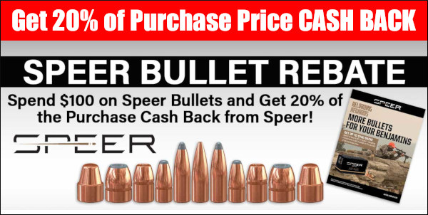 20% speer bullet sale rebate cash back