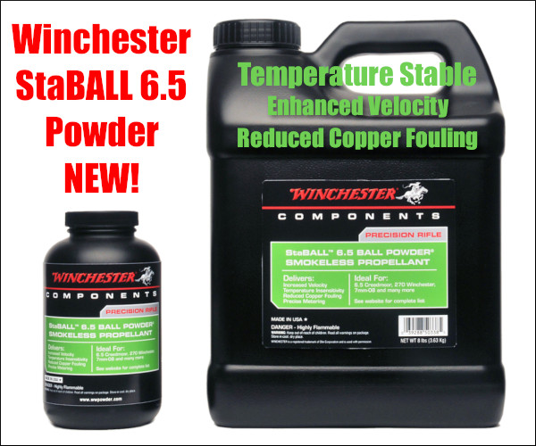 Winchester ball spherical propellant powder temperature stable staBALL 6.5