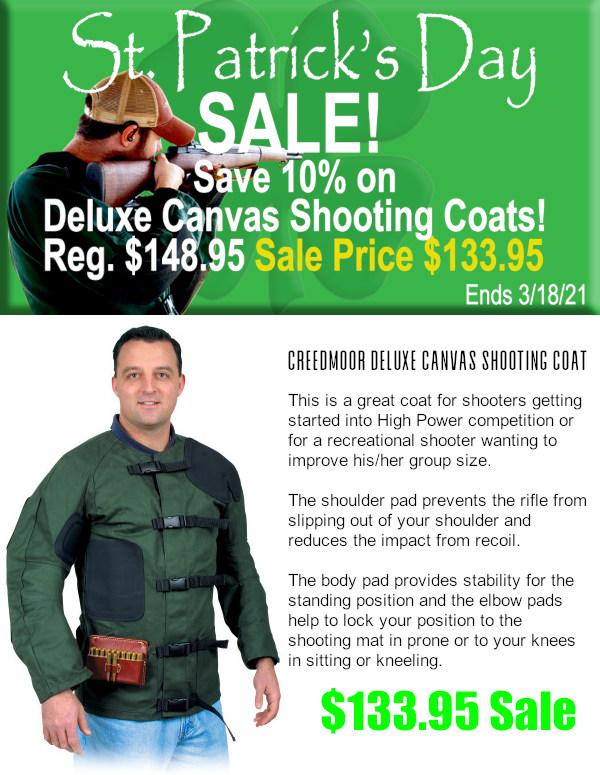 Creedmoor Sports St. Patrick's day shooting coat Deluxe Canvas Shooting Coat