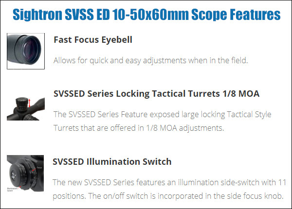sightron SVSS ED low disperions 10x-50x 10-50x60mm 34mm zero stop long range scope MOA-H reticle