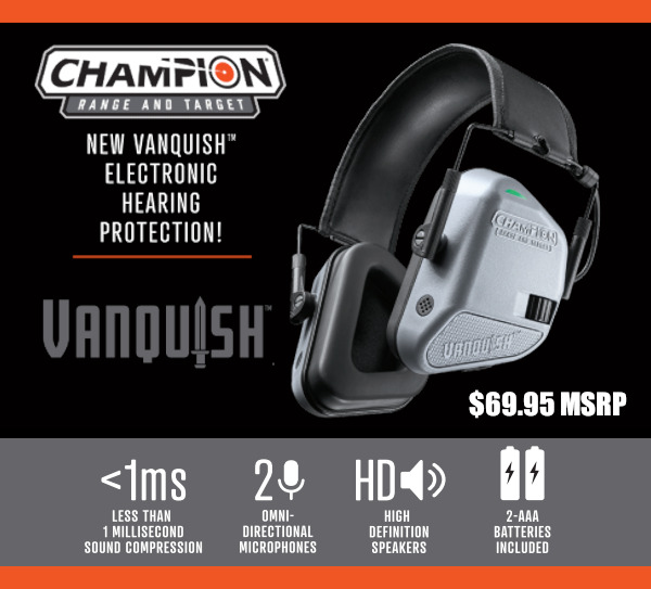 Bushnell Champion Vanquish Pro Electronic earmuffs muffs hearing protection 22 NRR 24 Bluetooth music smartphone
