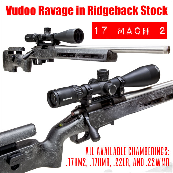 vudoo gun works .22 LR rimfire .17 HM2 17 Mach 2 hornady rifle Ravage Ridgeback Renegade