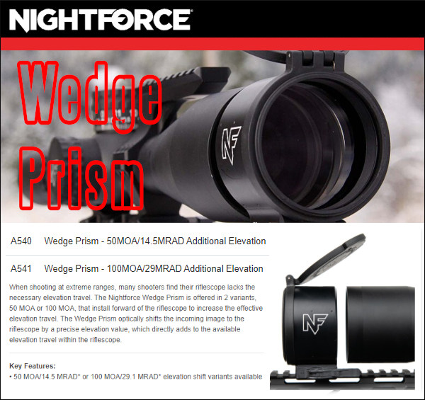 Nightforce Wedge Prism optic ELR Elevation device