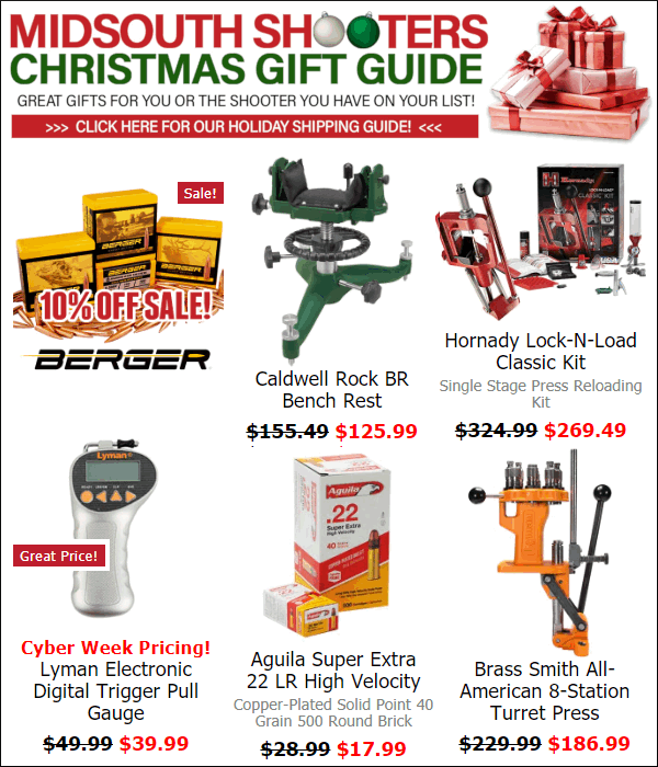 midsouth shooters hornady berger lyman .22 LR ammo reloading christmas holiday sale