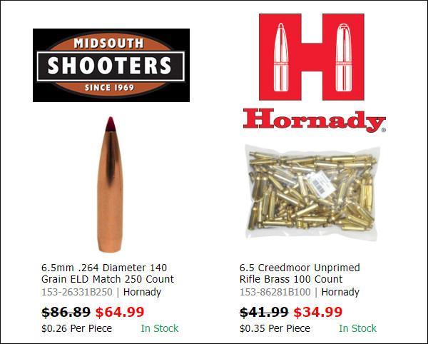 hornady 6.5 creedmoor brass ELD bullets