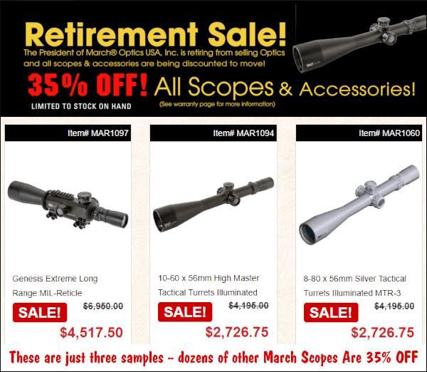 Accurateshooter Bargain Finder March Optics 30% Off discount sale