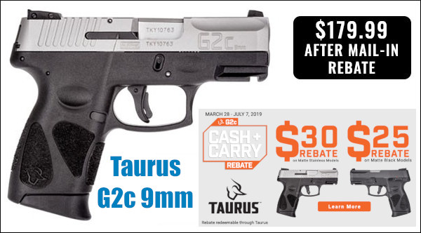 Carry pistol $180 bargain Taurus G2C ccw handgun review discount sales