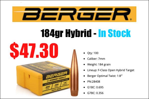 berger 184gr hybrids
