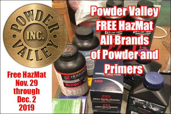 Powder Valley Inc. Primers Free Hazmat Haz Mat shipping Cyber Sale Black Friday