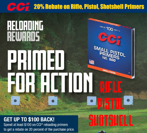 CCI Federal Primer Reloading primers rebate
