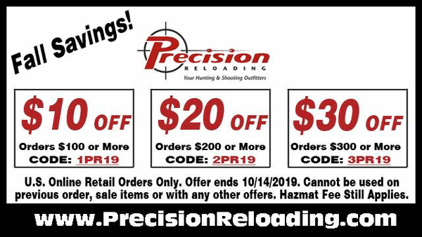 Precision Reloading Discount codes save $20 $30