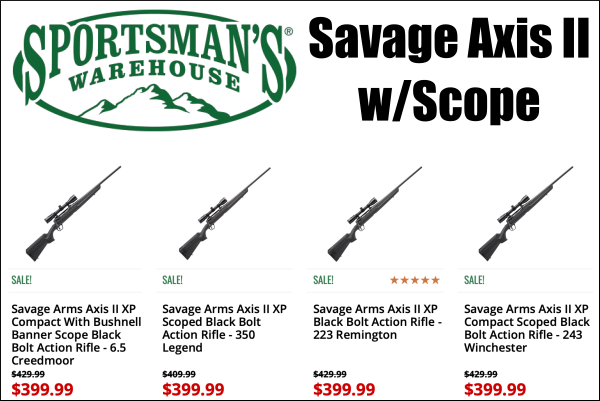 savage axis rifle sale