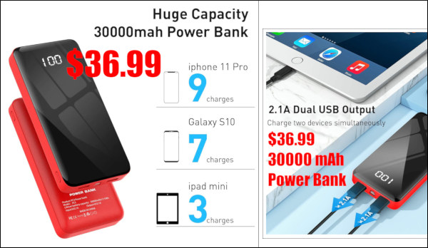 battery charger USB mini-usb 30000 mAh