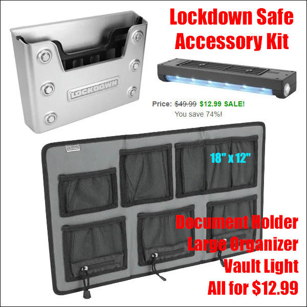 lockdown safe gunsafe accessory organizer light kit