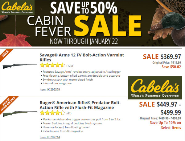 Cabela's rifle sale cabin fever january 2020