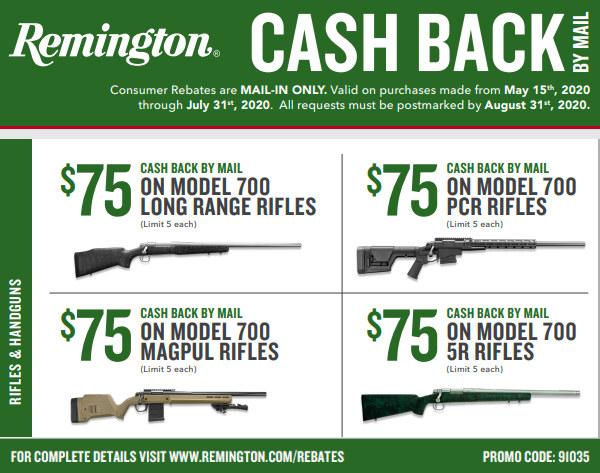 remington rem 700 rebate $75 savings rifle cash back
