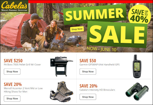 Cabela's summer sale