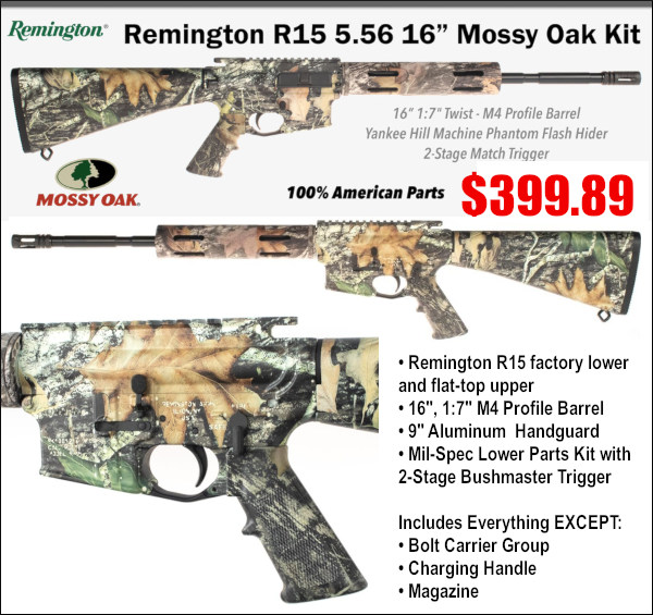 remington mossy oak camo camouflage short barrel AR15 MSR gun