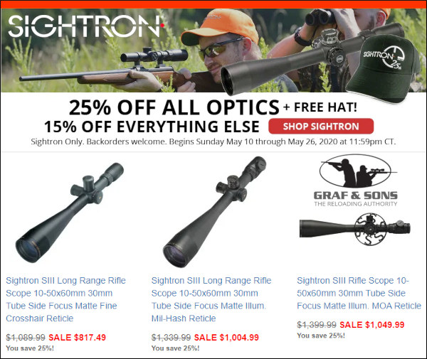 graf and sons sightron scope optics sale 25% off discount