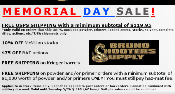 bruno shooters supply memorial day sale