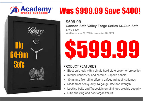 academy sports Cannon 64-gun Valley Forge Safe Black Friday Sale
