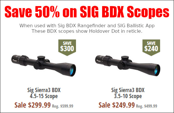 sig sauer BDX hunting scope ballistics app smart reticle sale 50% off brownells