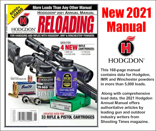 2021 hodgdon reloading manual cartridge loads IMR Winchester