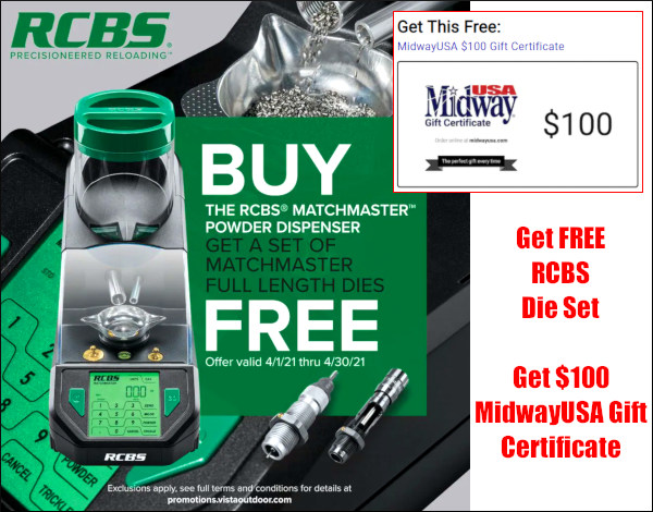 RCBS Matchmaster dispenser free dies $100 Gift Certificate