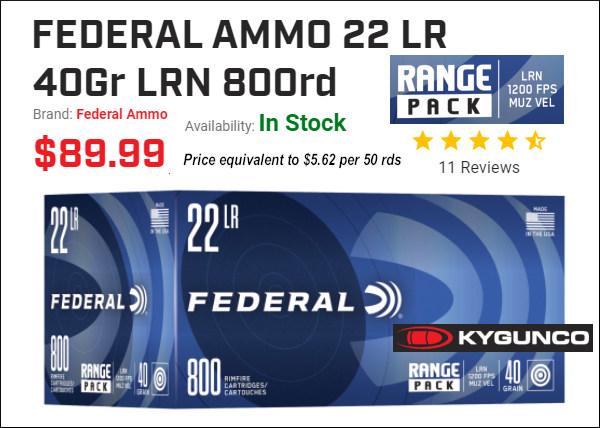 Federal range pack .22 LR rimfire 40gr ammunition