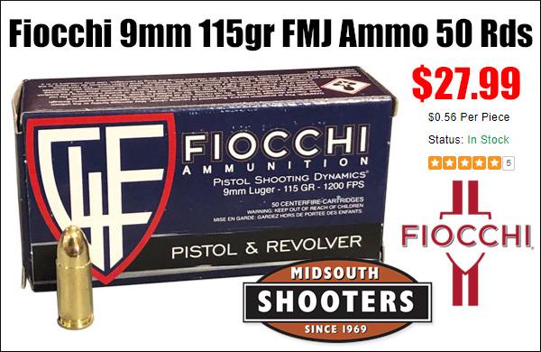 fiocchi 9mm ammo bargain deal pistol