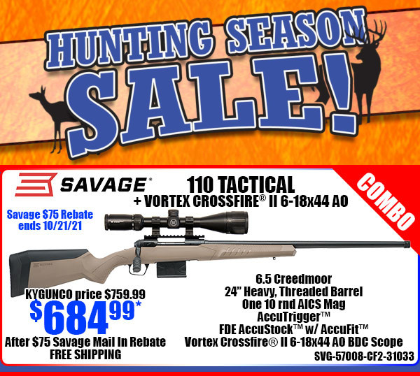 Savage 110 tactical rifle vortex scope combo sale