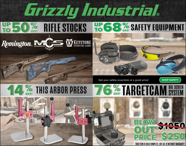 grizzly bullets.com blow-out sale gunsmithing tools stocks safety gear discount