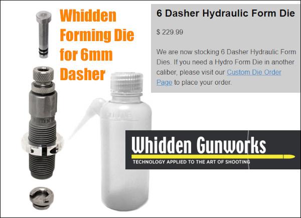 Whidden gunworks 6 6mm dasher hydro-forming hydraulic form die