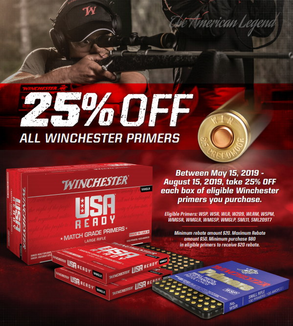 Winchester Primers rebate sale 25% discount brownells