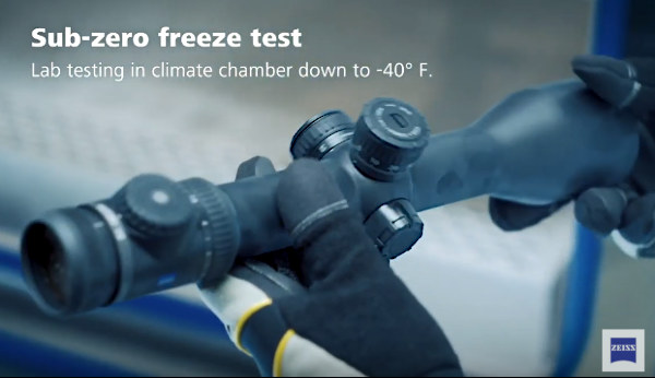 Zeiss optics riflescope impact shock salt freezing G-Force immersions test testing